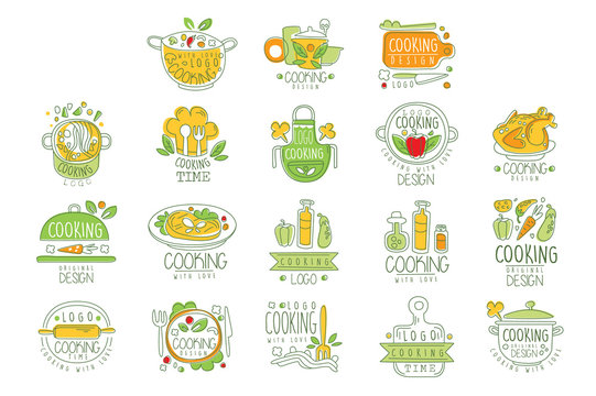 Cooking with love logo original design, badge for restaurant or home kitchen hand drawn vector Illustration