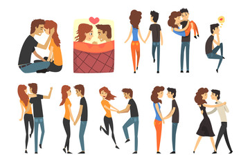 Romantic dinner dating couples set. Lovers walking, dancing, holding hands, guy carrying the girl in his arms, man thinking of love. Flat vector.