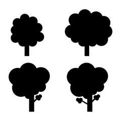 Set of tree icon. Isolated vector illustration