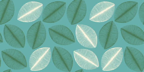 leaves silhouettes seamless pattern in blue green ivory