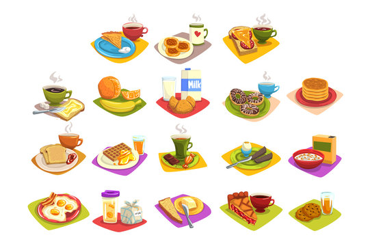 Classic breakfast ideas set. Cartoon illustration with coffee and toast with butter, fruits, milk and croissant, fried eggs and bacon, waffles with honey. Flat vector