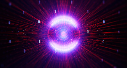 Binary code background/Color  bytes of binary code flying through a vortex, background code depth of field