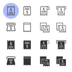 Receipt icon set. Illustrations isolated on white.
