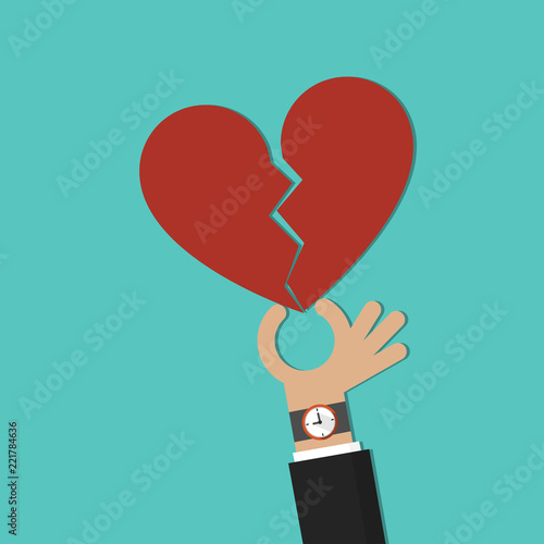 Hand Giving Broken Heart Symbol Vector Stock Image And Royalty Free