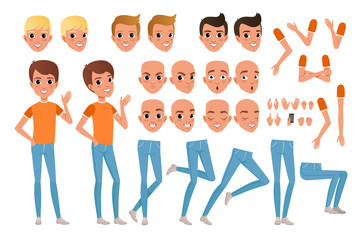 Teenager boy character constructor. Set of various male emotion faces, hairstyles, hands, gestures and legs. Flat design vector illustration