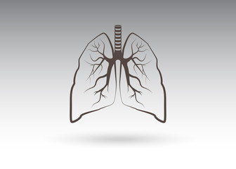 Lungs symbol. Breathing. Lunge exercise. Lung cancer  Respiratory system. World Tuberculosis Day. World Pneumonia Day. Health care