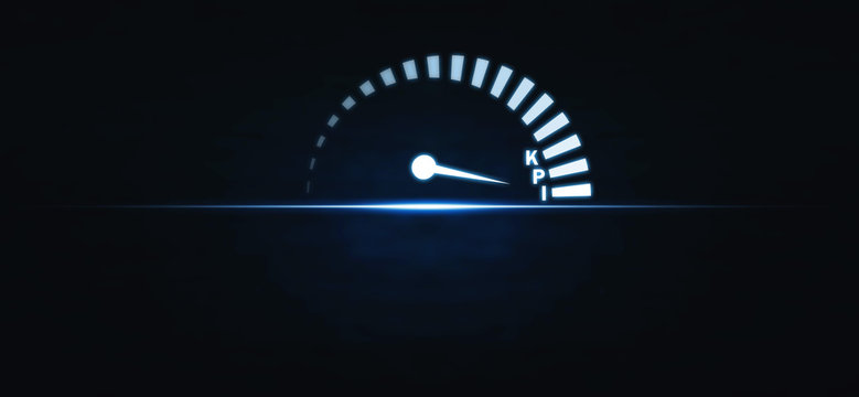 Speedometer with KPI word. Key Performance Indicator. Business concept