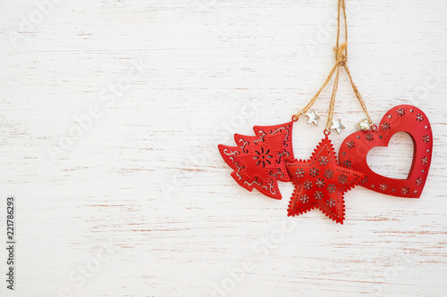 christmas background metal rustic christmas ornament hanging on white wood and copy space design - Rustic Christmas Background