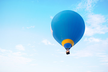 Hot air balloon flying on sky. travel and air transportation