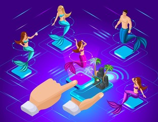 Isometric avatars of mermaids with different hairstyles, in different poses, to install a mermaid in a game on the island. Great concept for animation and games