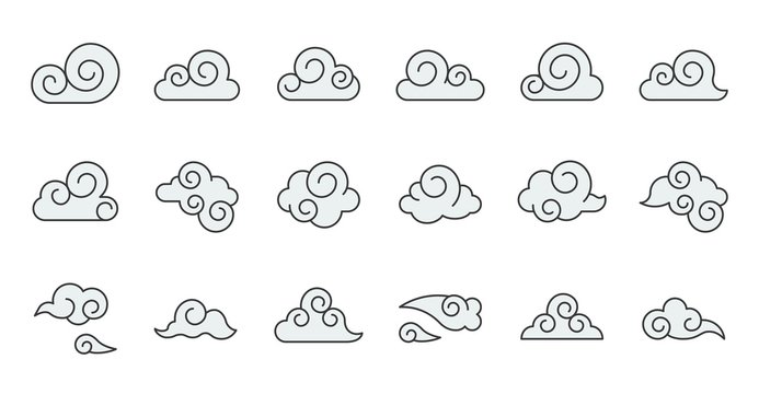 Chinese Cloud icon raw material for use, filled outline editable stroke