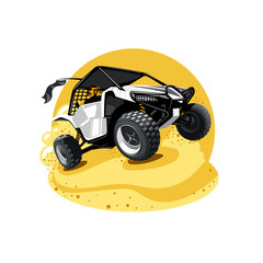 Off-Road ATV Buggy, rides true the sands. Yellow color.