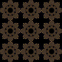 doily lace seamless tile in gold on black