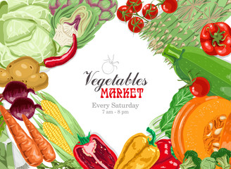 Vector background with vegetables: cabbage, artichoke, tomato, asparagus, zucchini, spinach, pumpkin, carrots, corn and potatoes. Marketplace poster