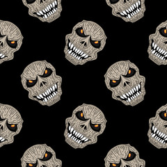 Creepy reaper skull head seamless pattern hand drawn. Spooky creature halloween monster vector illustration isolated on black background for fashion print and wrapping.