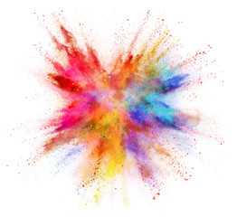Coloured powder explosion isolated on white background