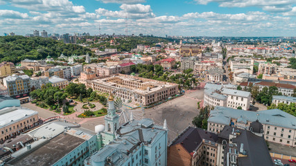 Aerial view of an abandoned building. Guest house. Trees. Contract Square. Kiev (Kyiv). Ukraine.