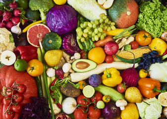 Assortment of fresh fruits and vegetables. Top view