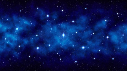 Night starry sky, dark blue space background with bright big stars, nebula