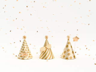Golden Party hats and party decoration elements on white. 3d rendering.