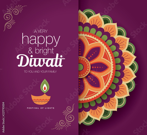 Diwali festival greeting card with colorful rangoli and diya lamp diwali festival greeting card with colorful rangoli and diya lamp m4hsunfo