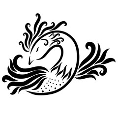 Patterned beautiful bird, magic animal, black sketch