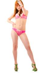 beautiful luxurious woman standing full length in lingerie