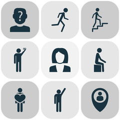 People icons set with anonymous, human, in love and other raised hand