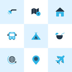 Trip icons colored set with bus, aircraft, label and other guidance