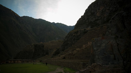 Polygonal masonry at Ollantaytambo archaeological site, Cuzco, Peru