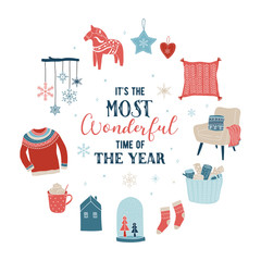 Scandinavian style, simple and stylish Merry Christmas greeting card with hand drawn elements, quotes, lettering