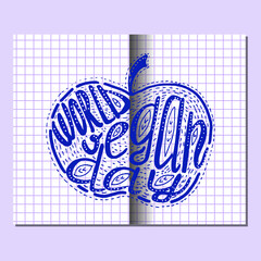 World Vegan Day. Lettering handmade with the name of the event inscribed in the apple. Imitation of a drawing in a school notebook in a cage