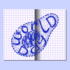 World Vegan Day. Lettering handmade with the name of the event inscribed in the avocado. Imitation of a drawing in a school notebook in a cage