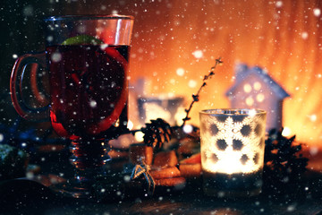 Winter decorate dark lantern holiday snow fairy