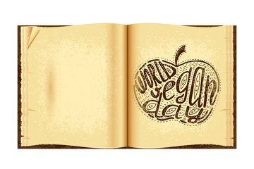World Vegan Day. Lettering handmade with the name of the event inscribed in the apple. Imitation of a drawing in the old book