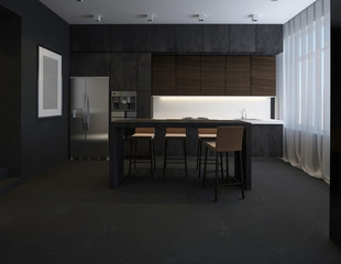 3D illustration kitchen with stone facade
