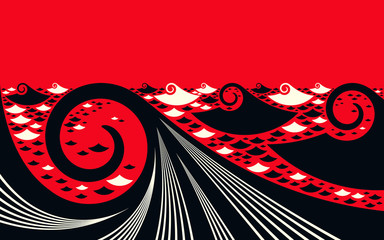 asian style graphic ocean landscape in black and red shades