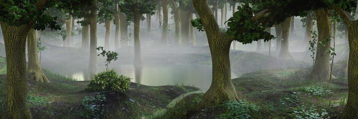 Aluminium Prints Dark grey foggy fantasy forest with ponds