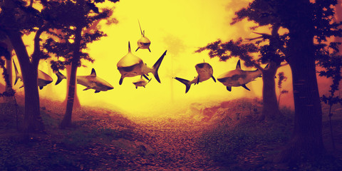 sharks swimming in forest, group of sharks flying in foggy fantasy landscape,