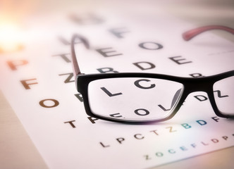 Glasses of sight on alphabet letter elevated view Wall mural