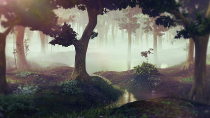 foggy fantasy forest with ponds, landscape