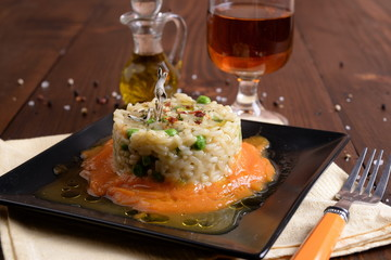 Asparagus and peas risotto with pumpkin cream