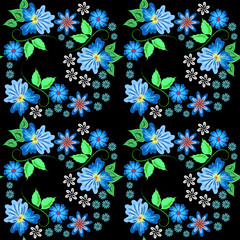 Raster seamless floral abstract pattern on a black background stylized colorful flowers
