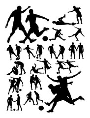Soccer player activity silhouette. Good use for symbol, logo, web icon, mascot, sign, or any design you want.
