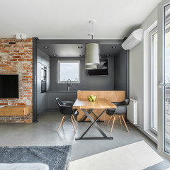 Industrial styled flat with table
