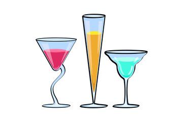 Set of tropical cocktails