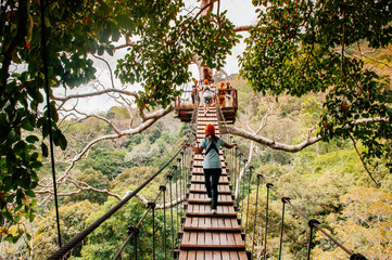 Tourist on zip line elevated wooden bridge over tropical forest canopy in Phuket, Thailand
