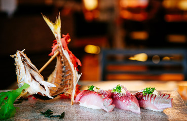 Japanese Sushi Sashimi fresh Aji fish or horse mackerel
