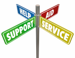 Help Support Aid Service Signs 3d Illustration