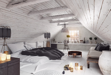 modern attic bedroom design.